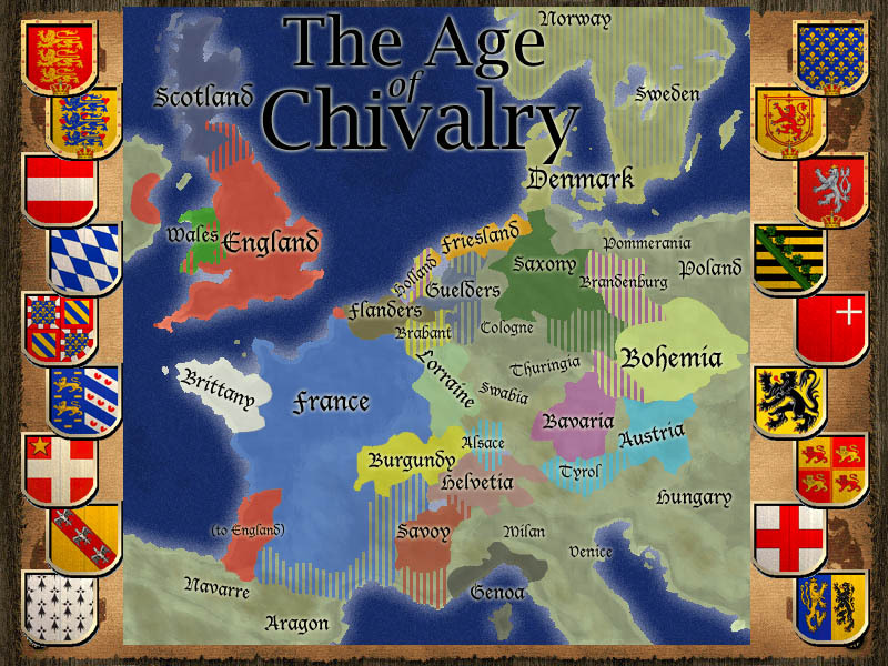 The map of Western and Central Europe during the Age of Chivalry's timeline.