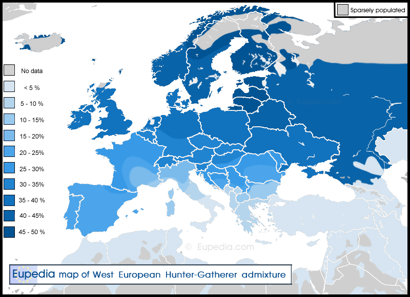 West European Hunter-Gatherer admixture map. Image source: www.eupedia.com