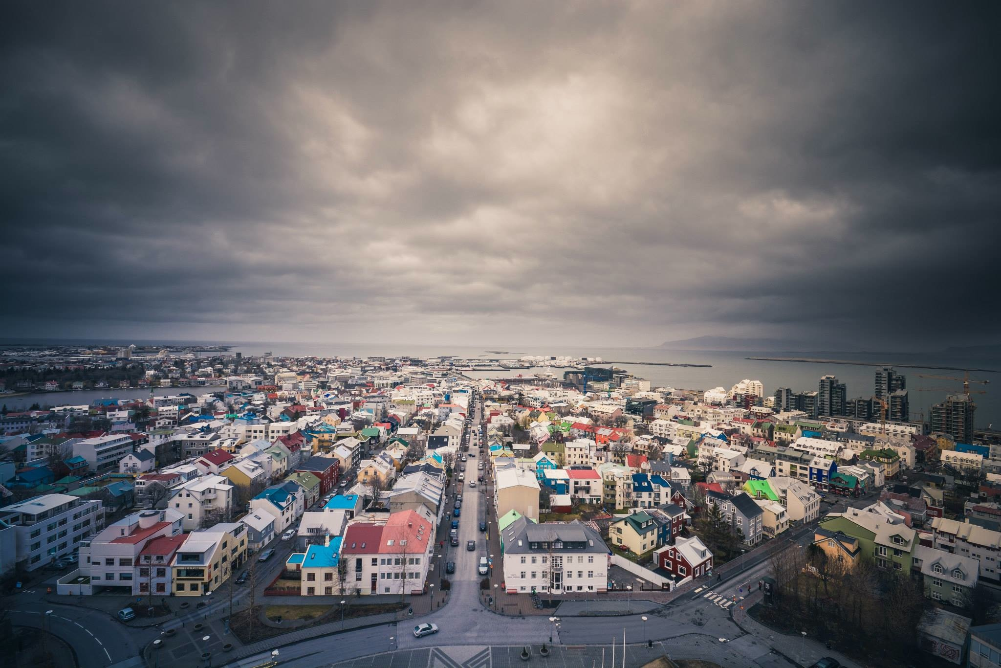 The capital city of Iceland, Reykjavik, as seen during a rainy day.