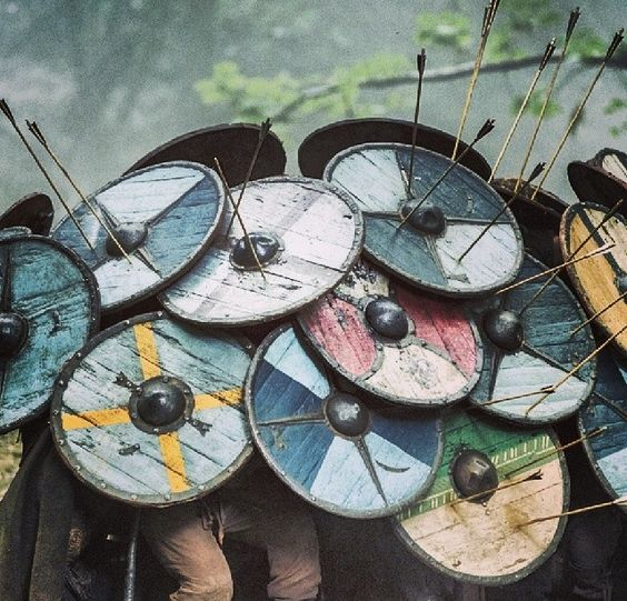 The Skjaldborg (Shield Wall) tactic used by the Norsemen as depicted in History Channel's TV series 'Vikings'. The shield wall tactic was also used by other peoples during both the Ancient Age and the Middle Ages (i.e. Romans, Greeks, etc.). Image source: www.pinterest.com