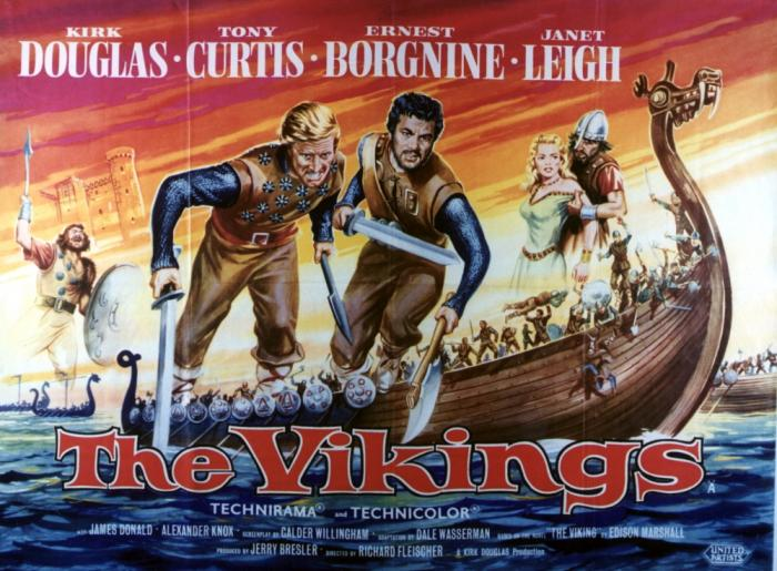 Theatrical poster for 'The Vikings' from 1958. Image source: www.katiemetcalfe.wordpress.com