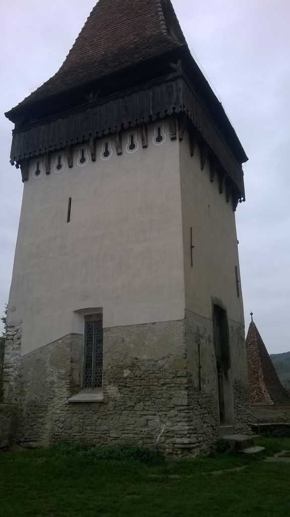 One of the towers near the church