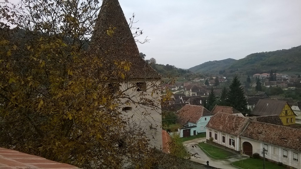 A view of one of the towers of the fortified church