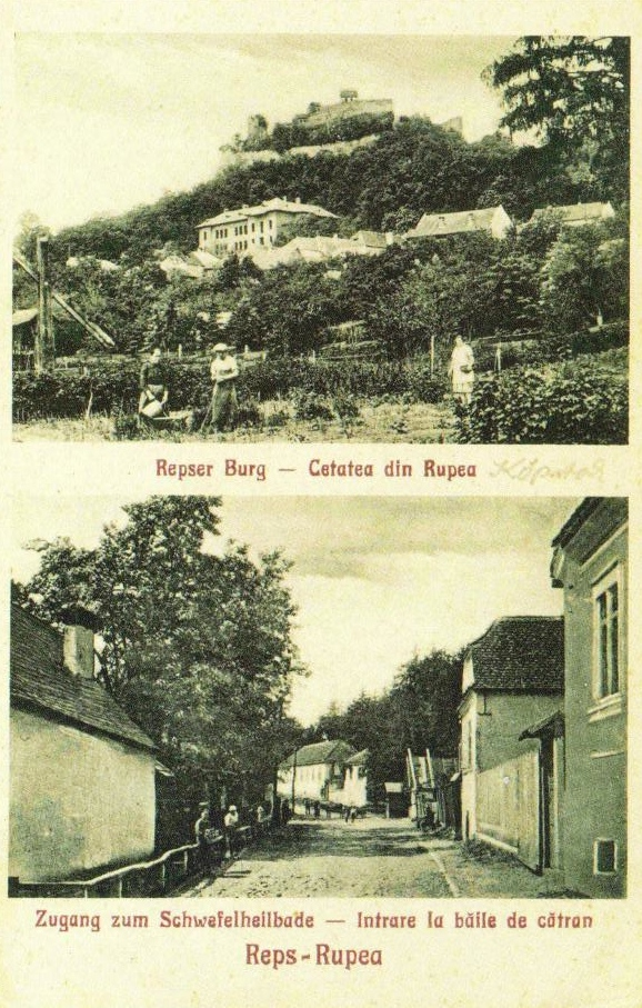 Bilingual Romanian-German postcard of the city of Rupea/Reps.