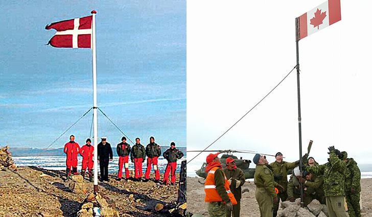 Danish and Canadian military hoisting flags on Hans Island. Image source: www.worldatlas.com