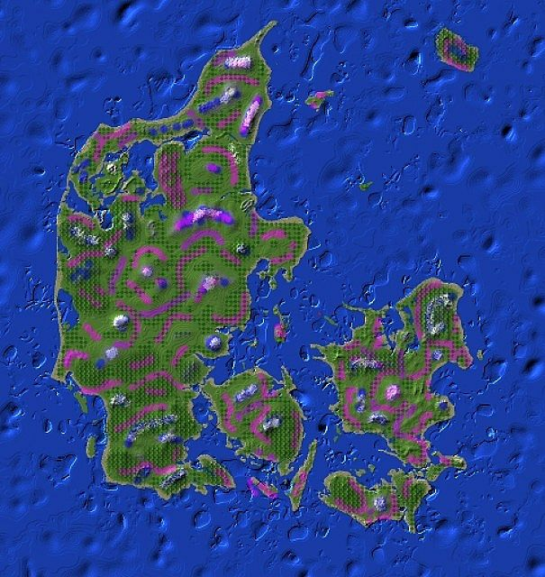 The map of Denmark in Minecraft. Image source: www.planetminecraft.com