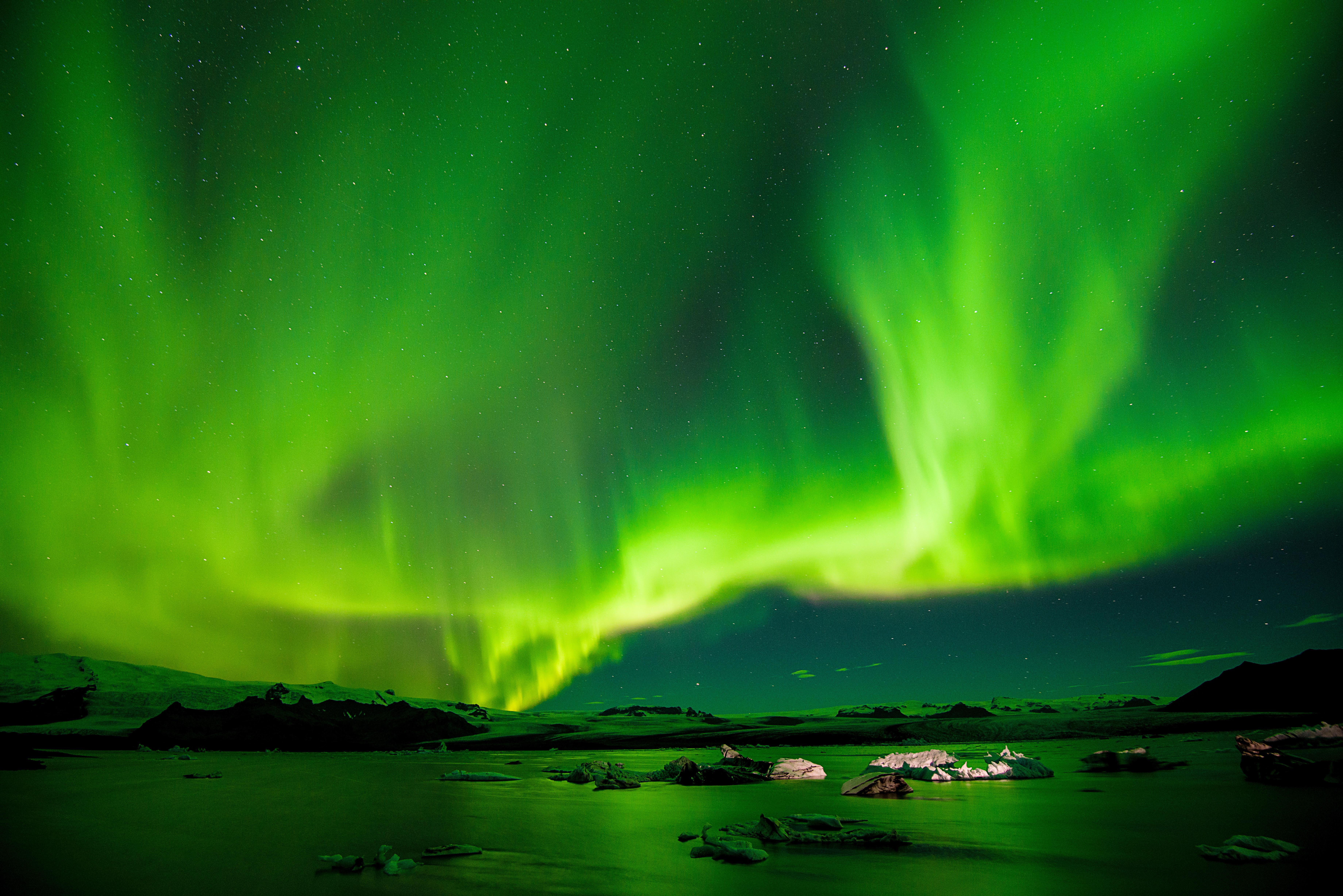 Mesmerising Nordic lights (Aurora Borealis) in Iceland.