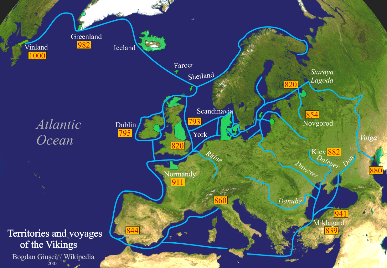 Detailed map of trade routes and territorial possessions of the Norsemen during the Viking Age. Map designed by Bogdan Giușcă for Wikipedia in 2005. Image source: www.wikipedia.org