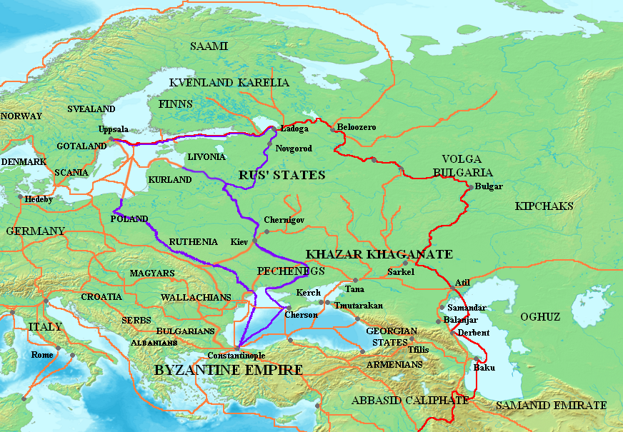 The trade routes of the Swedish Vikings in continental Europe and the Middle East, between the 9th and 11th centuries. Image source: www.wikipedia.org