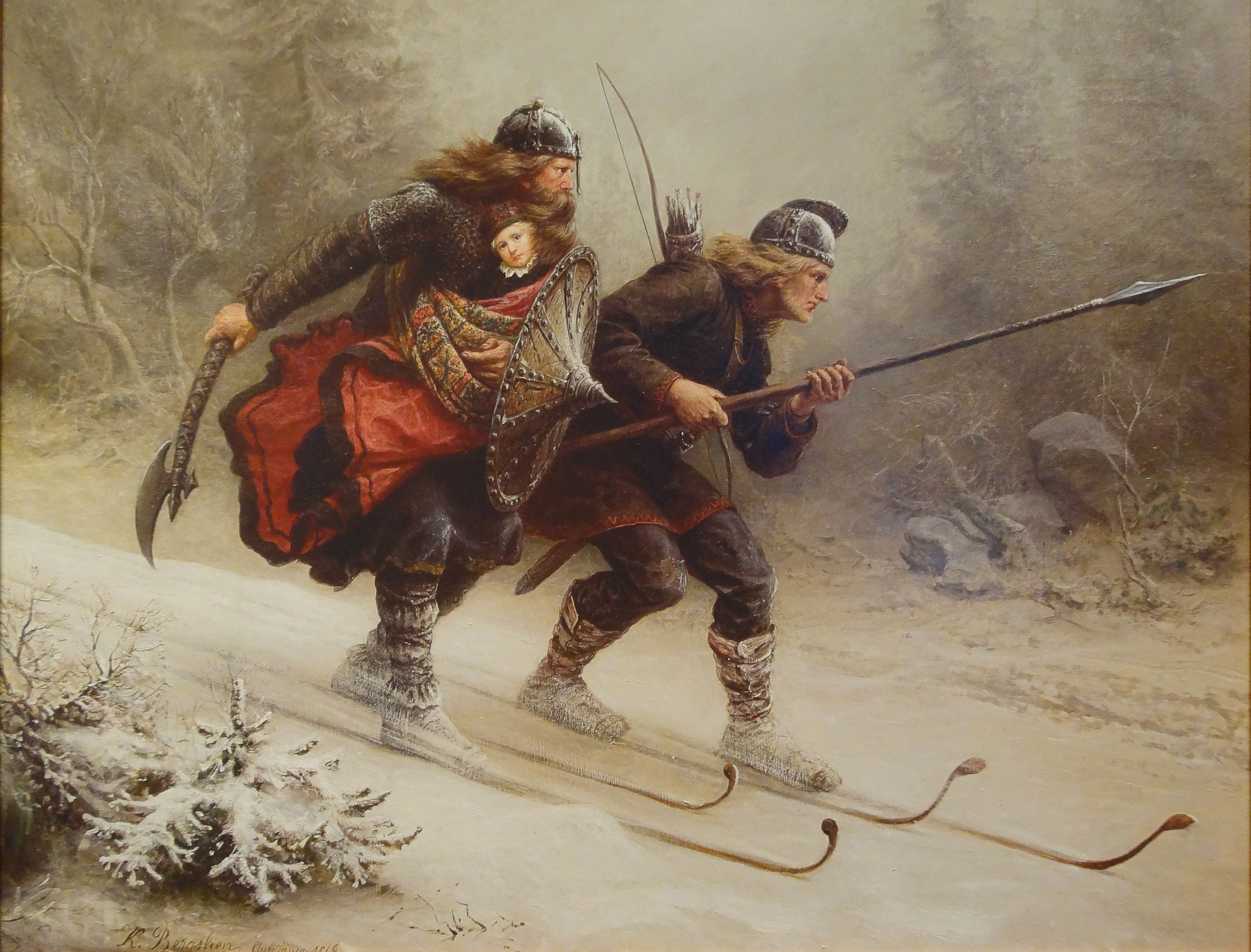 'Skiing Birchlegs Crossing the Mountain with the Royal Child' by Norwegian painter Knud Bergslien. Image source: www.commons.wikimedia.org