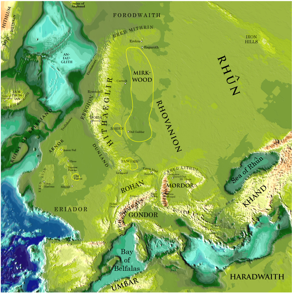 Map of the Middle Earth overlapped on that of Europe by professor Peter Bird at University of California in Los Angeles. Image source: www.ktwop.com
