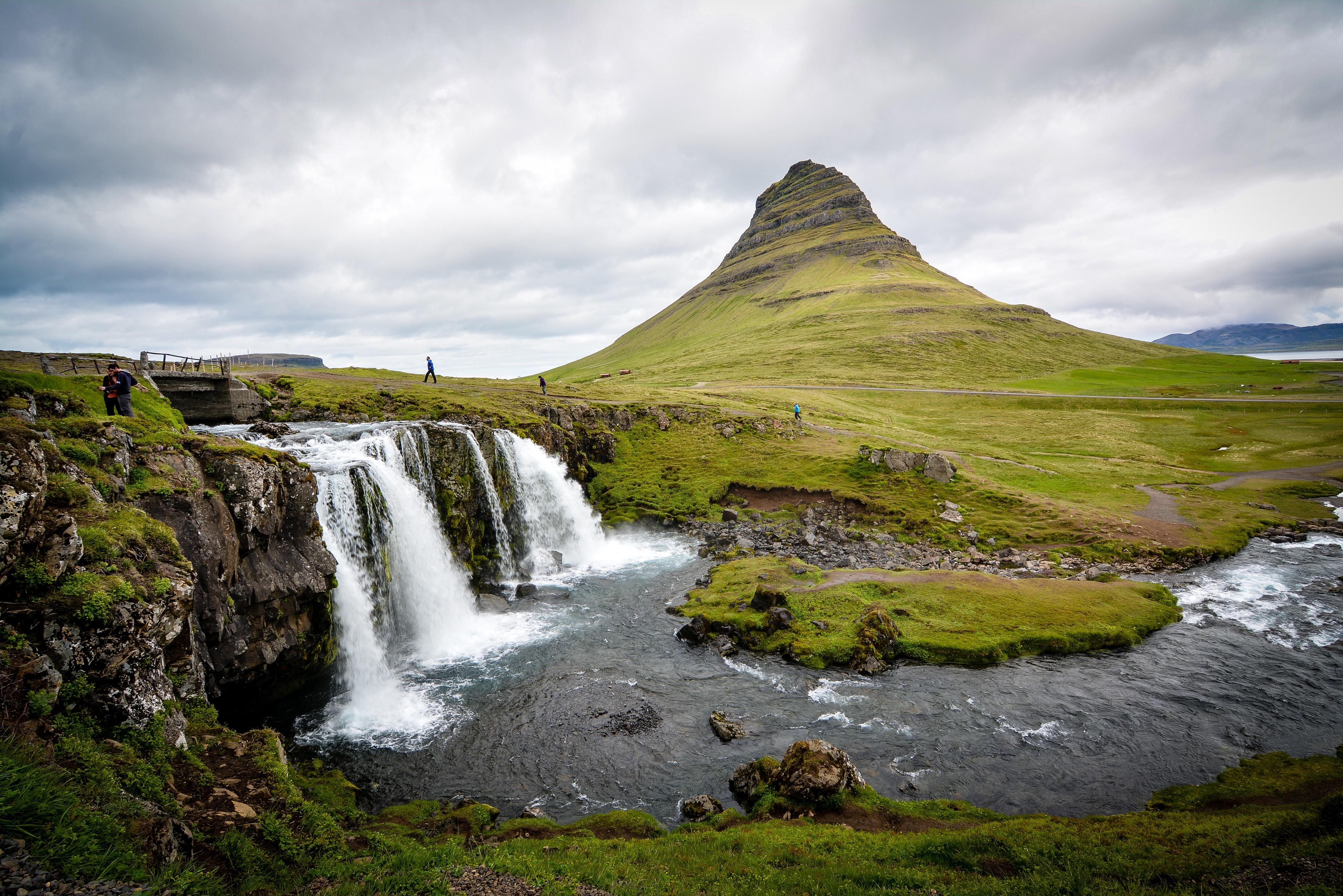 Kirkjufellsfoss waterfall on Snæfellsnes peninsula, West Region, Iceland.