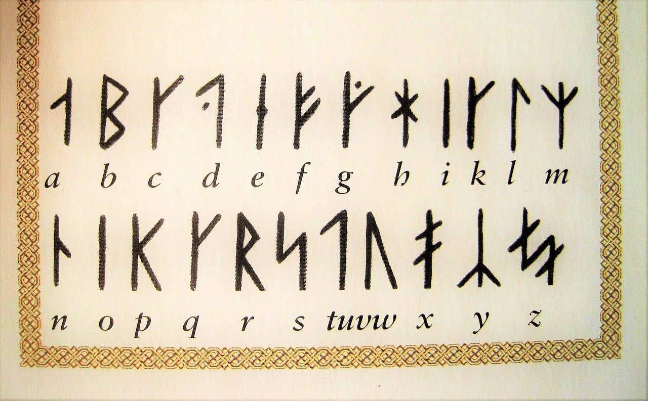 Medieval runes and their counterparts in the Latin alphabet. Image source: www.pixabay.com