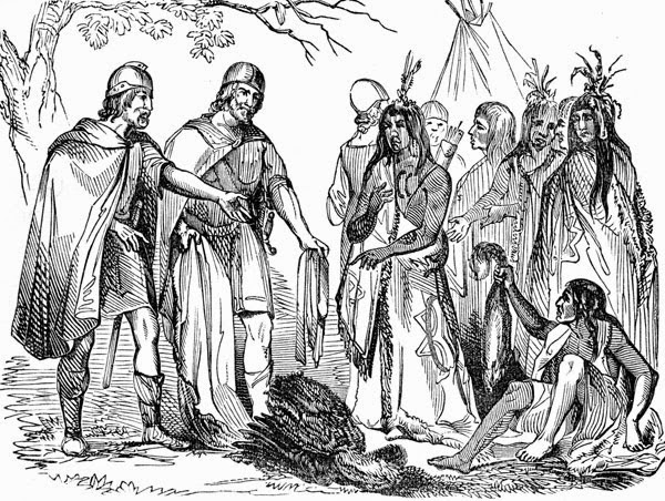 Artistic depiction of the Northmen trading with the Native Americans. Image source: www.blogspot.com